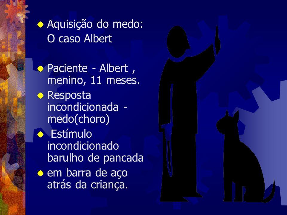 Aquisição do medo:O caso Albert. Paciente - Albert , menino, 11 meses. Resposta incondicionada - medo(choro)
