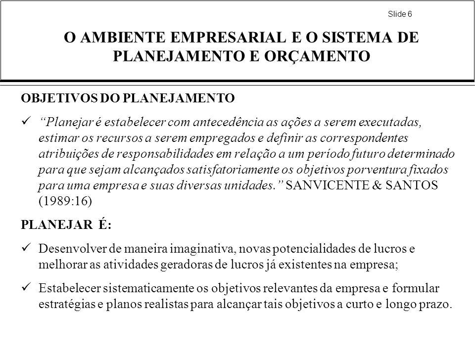 O AMBIENTE EMPRESARIAL E O SISTEMA DE PLANEJAMENTO E ORÇAMENTO