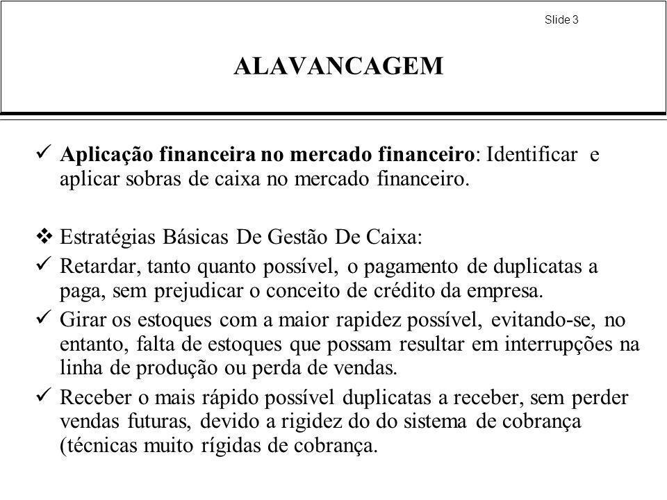 ALAVANCAGEM Aplicação financeira no mercado financeiro: Identificar e aplicar sobras de caixa no mercado financeiro.