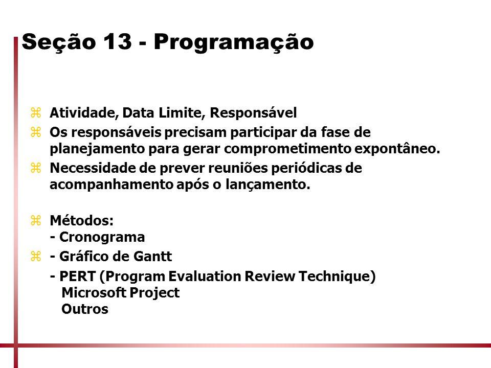 Seção 13 - Programação Atividade, Data Limite, Responsável