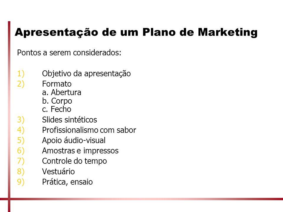 Apresentação de um Plano de Marketing