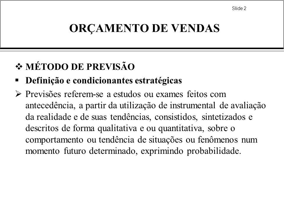 ORÇAMENTO DE VENDAS MÉTODO DE PREVISÃO