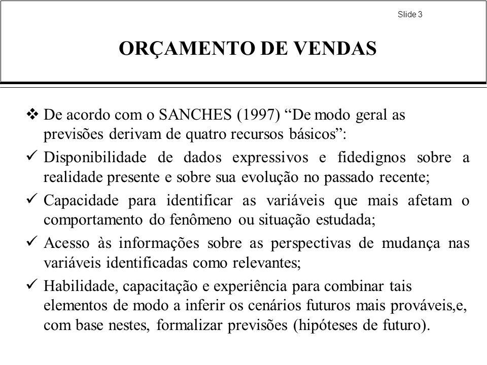 ORÇAMENTO DE VENDAS De acordo com o SANCHES (1997) De modo geral as previsões derivam de quatro recursos básicos :