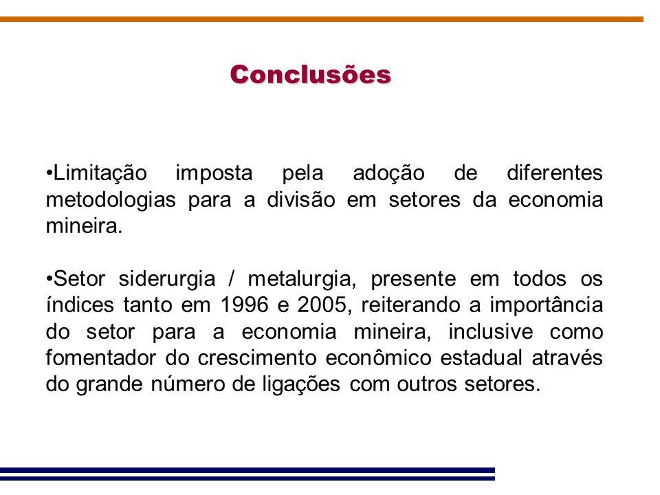 Conclusões Limitação imposta pela adoção de diferentes metodologias para a divisão em setores da economia mineira.