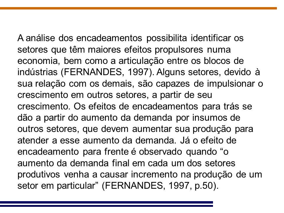 A análise dos encadeamentos possibilita identificar os setores que têm maiores efeitos propulsores numa economia, bem como a articulação entre os blocos de indústrias (FERNANDES, 1997).