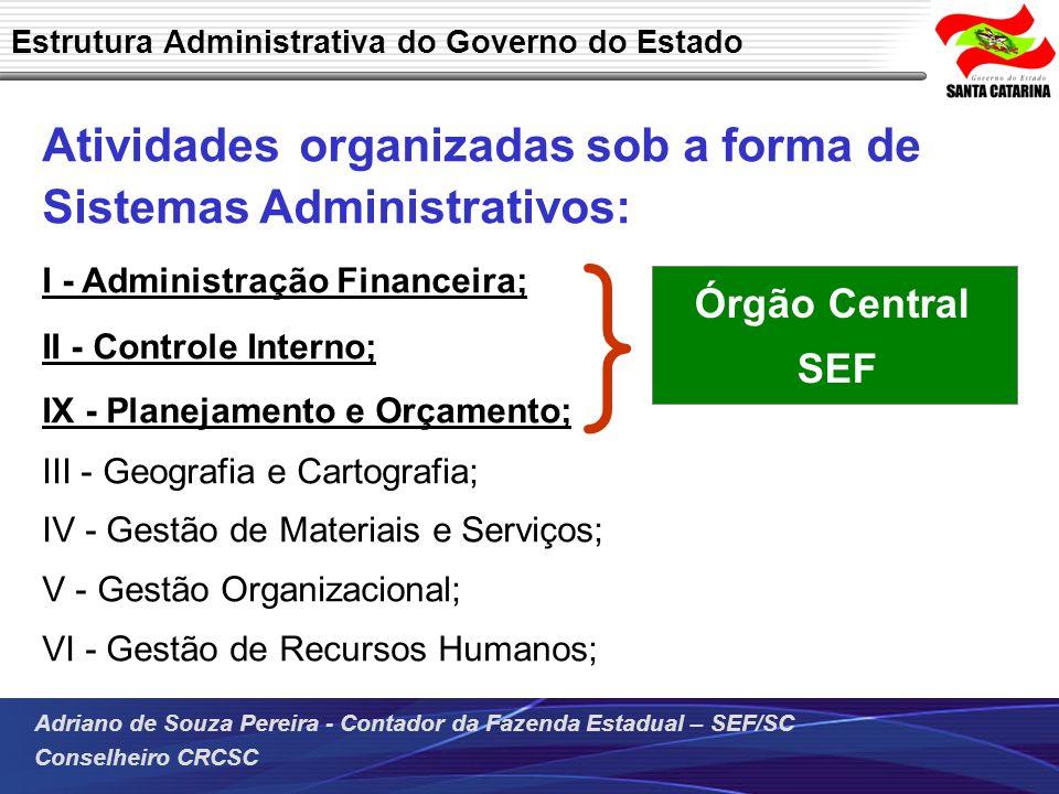 } Atividades organizadas sob a forma de Sistemas Administrativos: