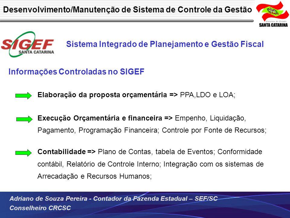 Desenvolvimento/Manutenção de Sistema de Controle da Gestão