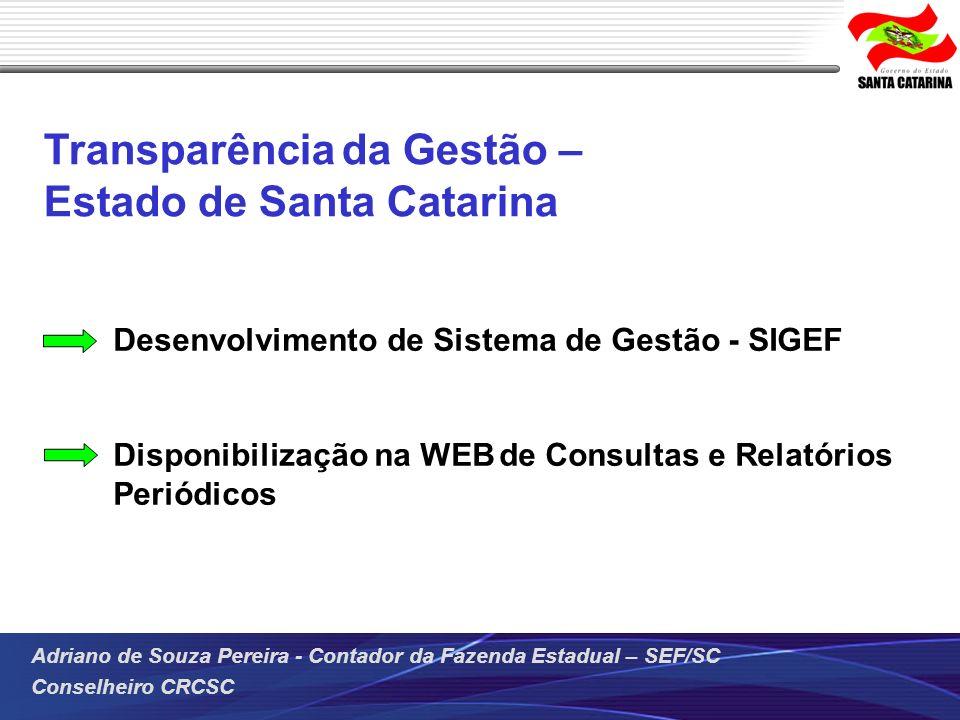 Transparência da Gestão – Estado de Santa Catarina