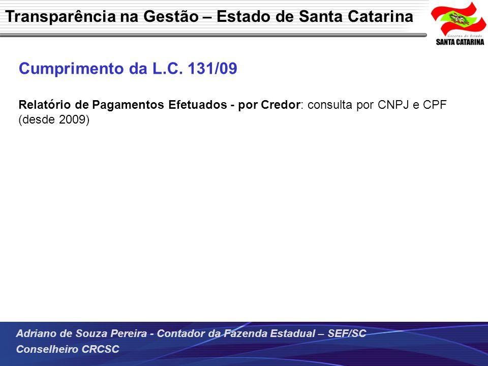 Transparência na Gestão – Estado de Santa Catarina