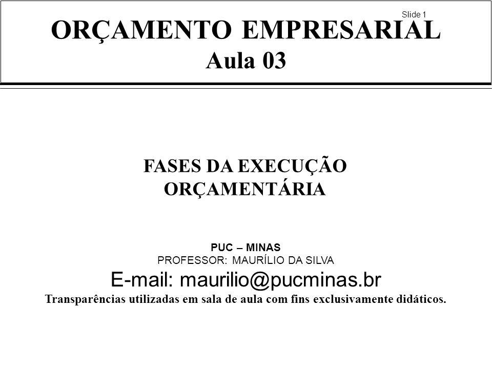 ORÇAMENTO EMPRESARIAL Aula 03