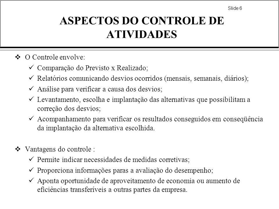 ASPECTOS DO CONTROLE DE ATIVIDADES