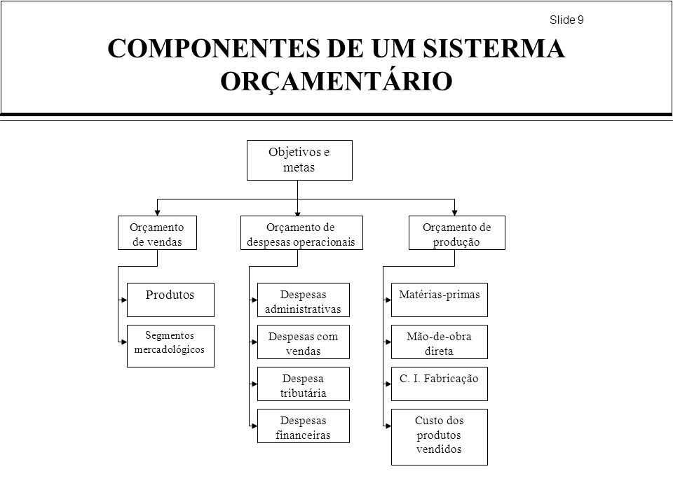 COMPONENTES DE UM SISTERMA ORÇAMENTÁRIO