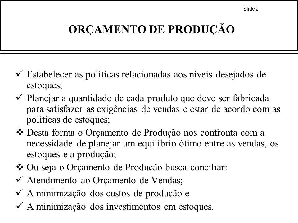 ORÇAMENTO DE PRODUÇÃOEstabelecer as políticas relacionadas aos níveis desejados de estoques;