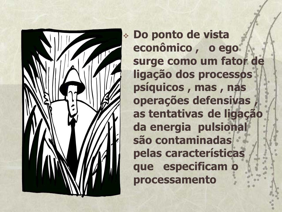 Do ponto de vista econômico , o ego surge como um fator de ligação dos processos psíquicos , mas , nas operações defensivas , as tentativas de ligação da energia pulsional são contaminadas pelas características que especificam o processamento