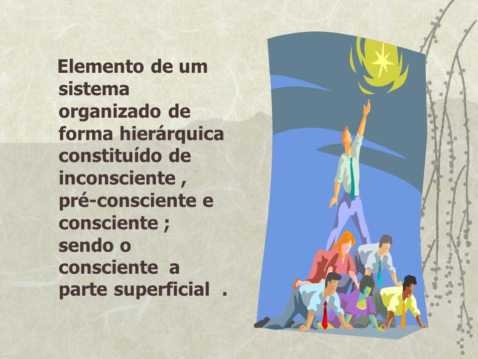 Elemento de um sistema organizado de forma hierárquica constituído de inconsciente , pré-consciente e consciente ; sendo o consciente a parte superficial .