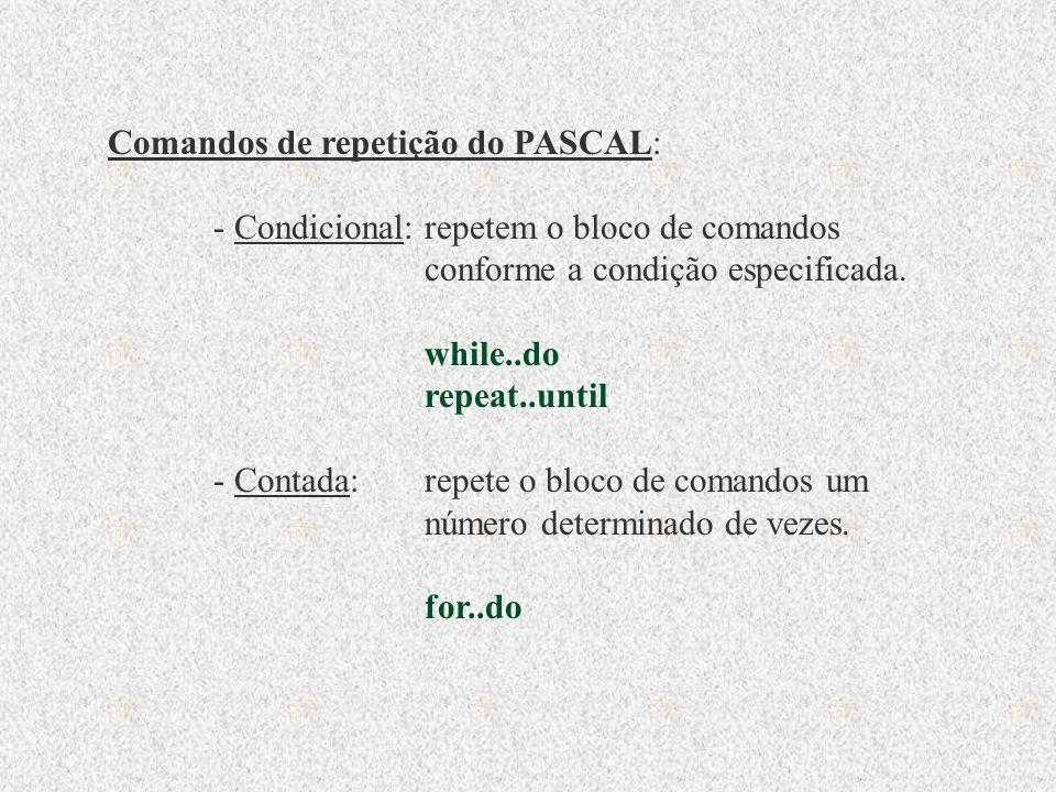 Comandos de repetição do PASCAL: