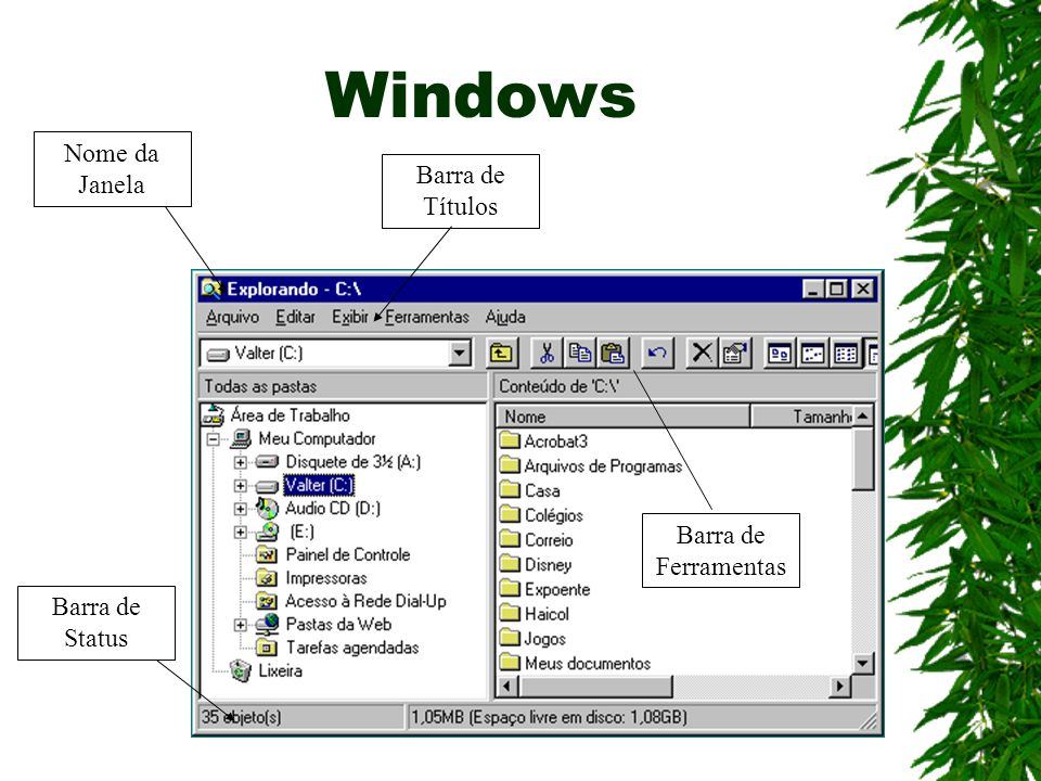 Windows Nome da Janela Barra de Títulos Barra de Ferramentas