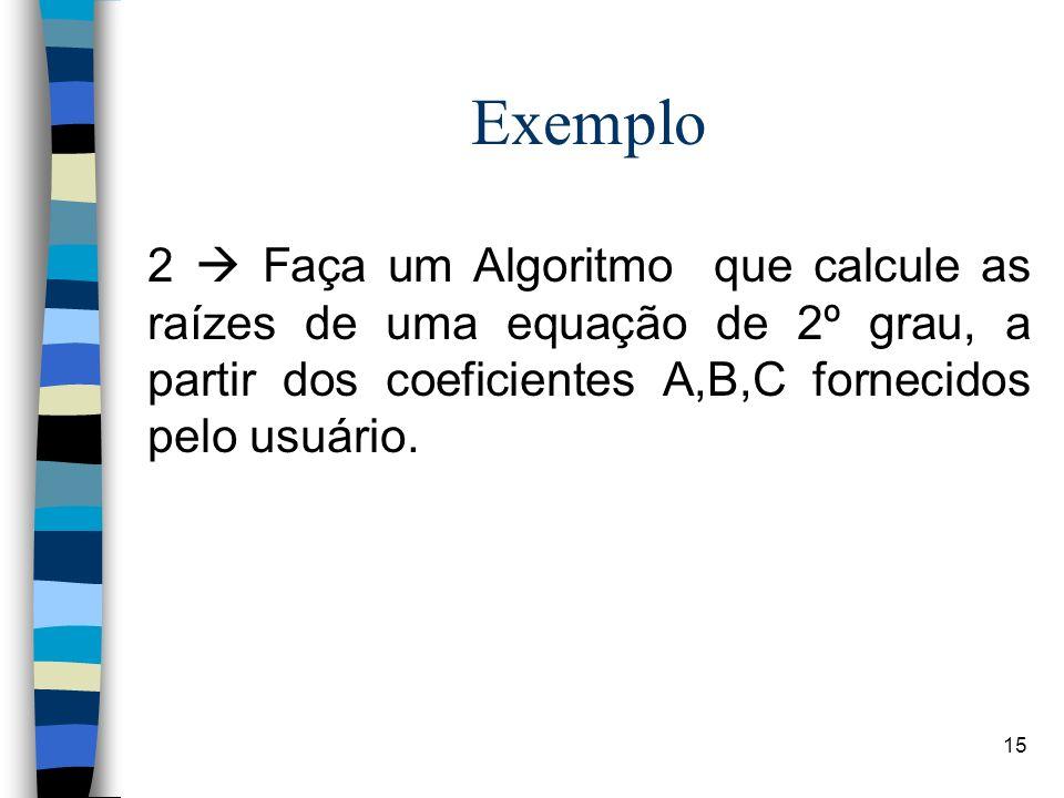 Exemplo 2  Faça um Algoritmo que calcule as raízes de uma equação de 2º grau, a partir dos coeficientes A,B,C fornecidos pelo usuário.