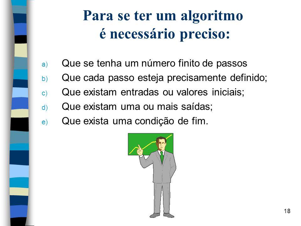 Para se ter um algoritmo é necessário preciso: