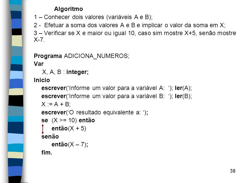 Algoritmo 1 – Conhecer dois valores (variáveis A e B); 2 - Efetuar a soma dos valores A e B e implicar o valor da soma em X;