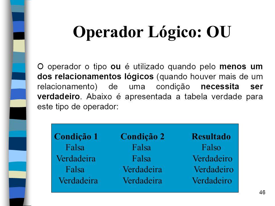Operador Lógico: OU Condição 1 Condição 2 Resultado Falsa Falsa Falso