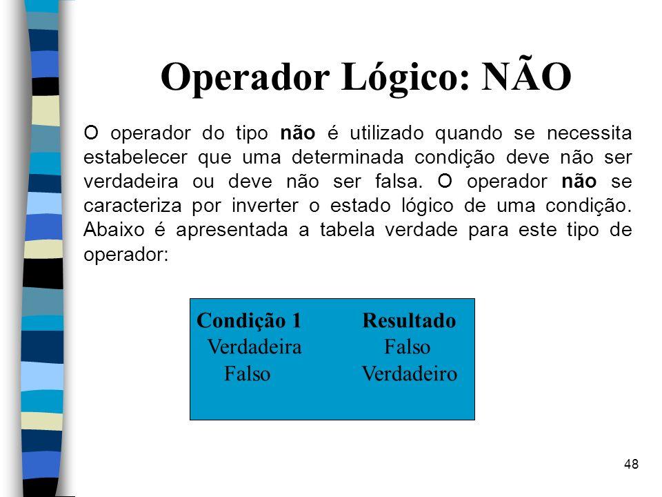 Operador Lógico: NÃO Condição 1 Resultado Verdadeira Falso