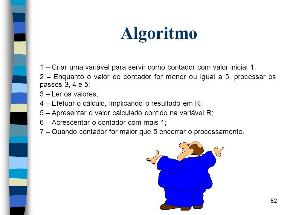 Algoritmo1 – Criar uma variável para servir como contador com valor inicial 1;
