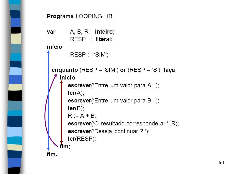 Programa LOOPING_1B; var A, B, R : inteiro; RESP : literal; início. RESP := 'SIM'; enquanto (RESP = 'SIM') or (RESP = 'S') faça.