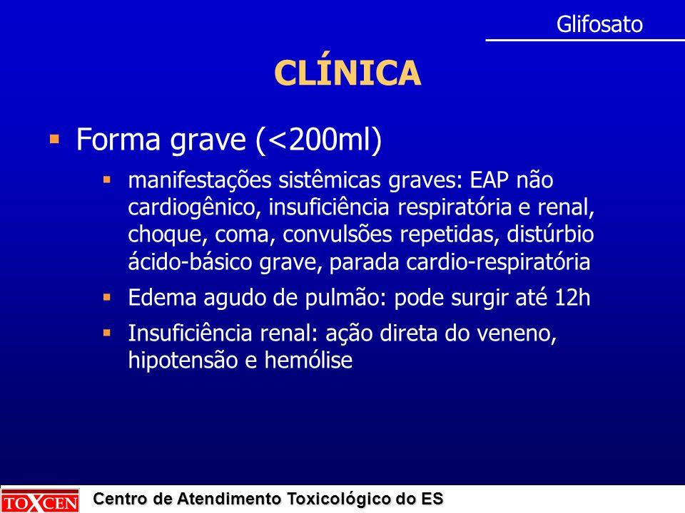 CLÍNICA Forma grave (<200ml) Glifosato