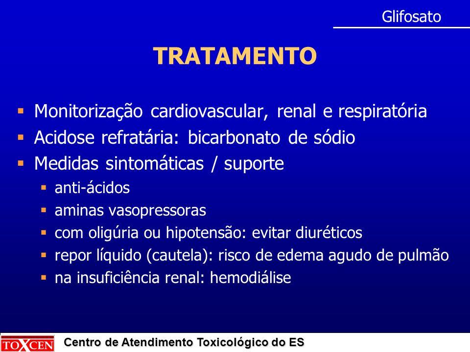 TRATAMENTO Monitorização cardiovascular, renal e respiratória