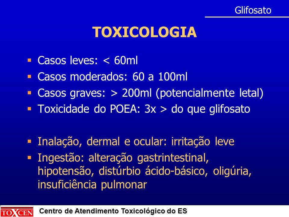 TOXICOLOGIA Casos leves: < 60ml Casos moderados: 60 a 100ml