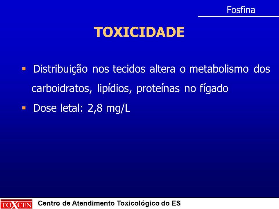 TOXICIDADE Distribuição nos tecidos altera o metabolismo dos
