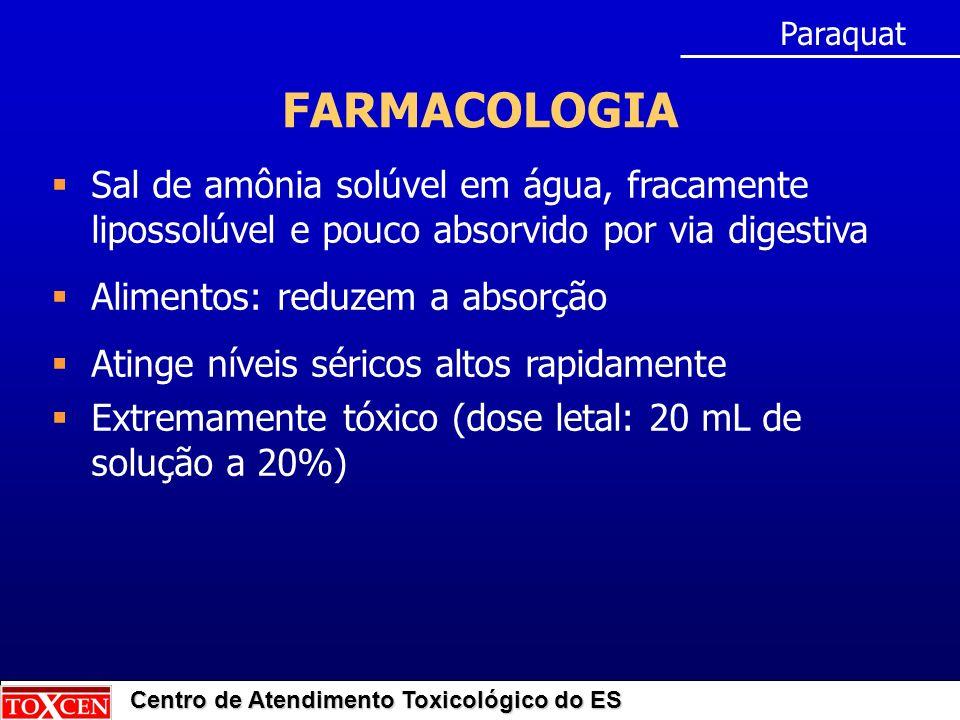 Paraquat FARMACOLOGIA. Sal de amônia solúvel em água, fracamente lipossolúvel e pouco absorvido por via digestiva.