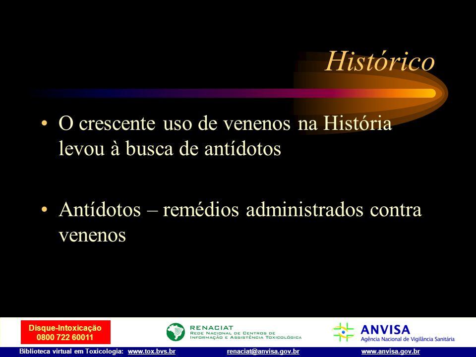 HistóricoO crescente uso de venenos na História levou à busca de antídotos.