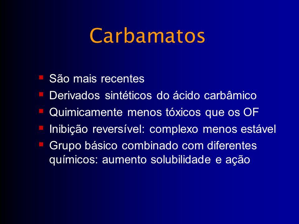 Carbamatos São mais recentes Derivados sintéticos do ácido carbâmico