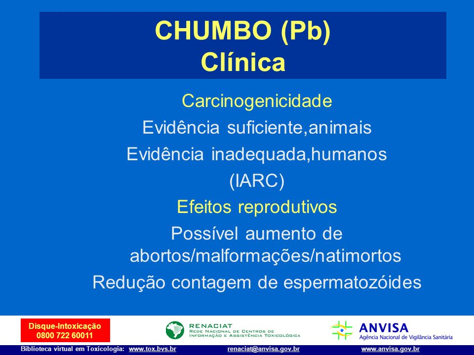 CHUMBO (Pb) Clínica Carcinogenicidade Evidência suficiente,animais