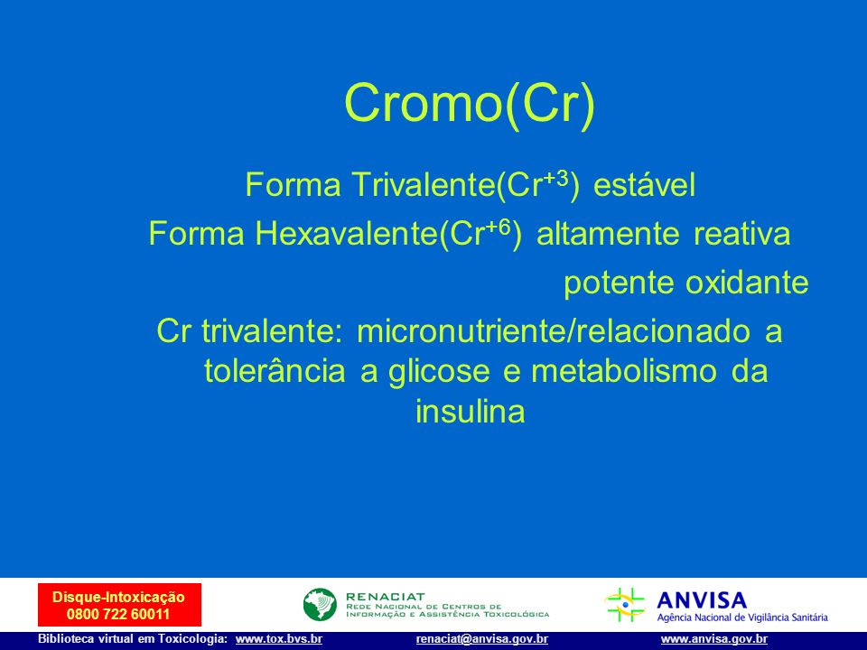 Cromo(Cr) Forma Trivalente(Cr+3) estável