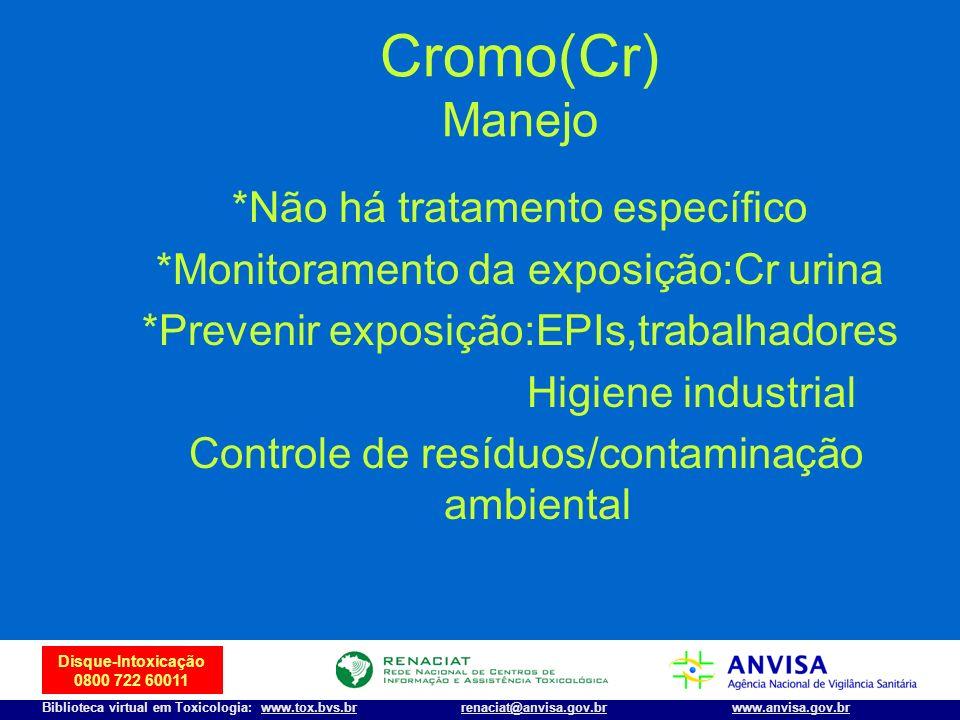 Cromo(Cr) Manejo *Não há tratamento específico