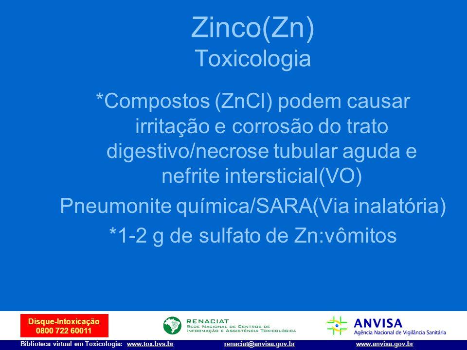 Zinco(Zn) Toxicologia