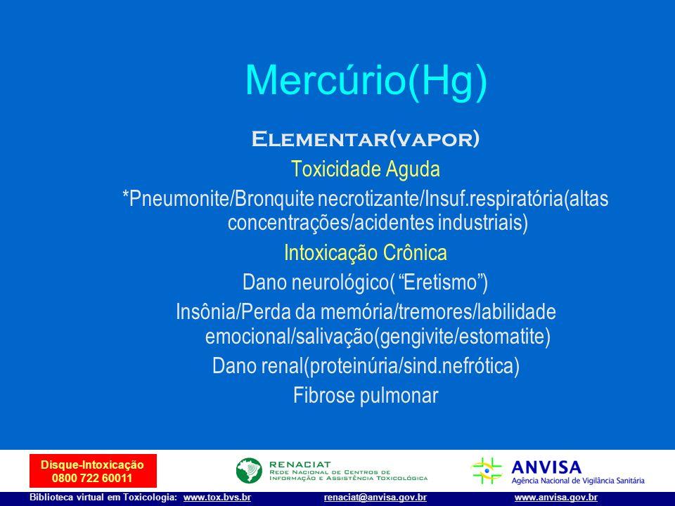 Mercúrio(Hg) Elementar(vapor) Toxicidade Aguda