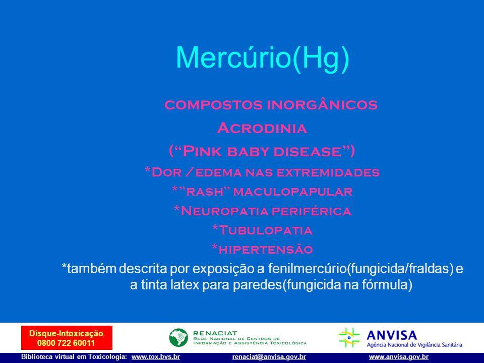 Mercúrio(Hg) compostos inorgânicos Acrodinia ( Pink baby disease )