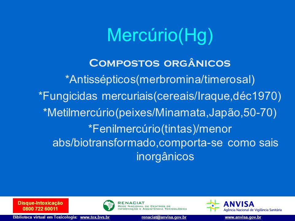 Mercúrio(Hg) Compostos orgânicos *Antissépticos(merbromina/timerosal)