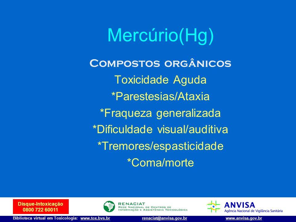 Mercúrio(Hg) Compostos orgânicos Toxicidade Aguda *Parestesias/Ataxia