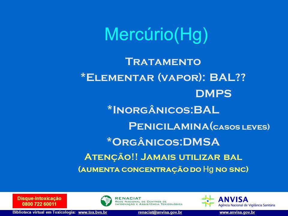 Mercúrio(Hg) Tratamento *Elementar (vapor): BAL DMPS