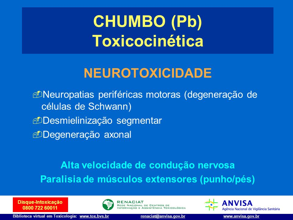 CHUMBO (Pb) Toxicocinética