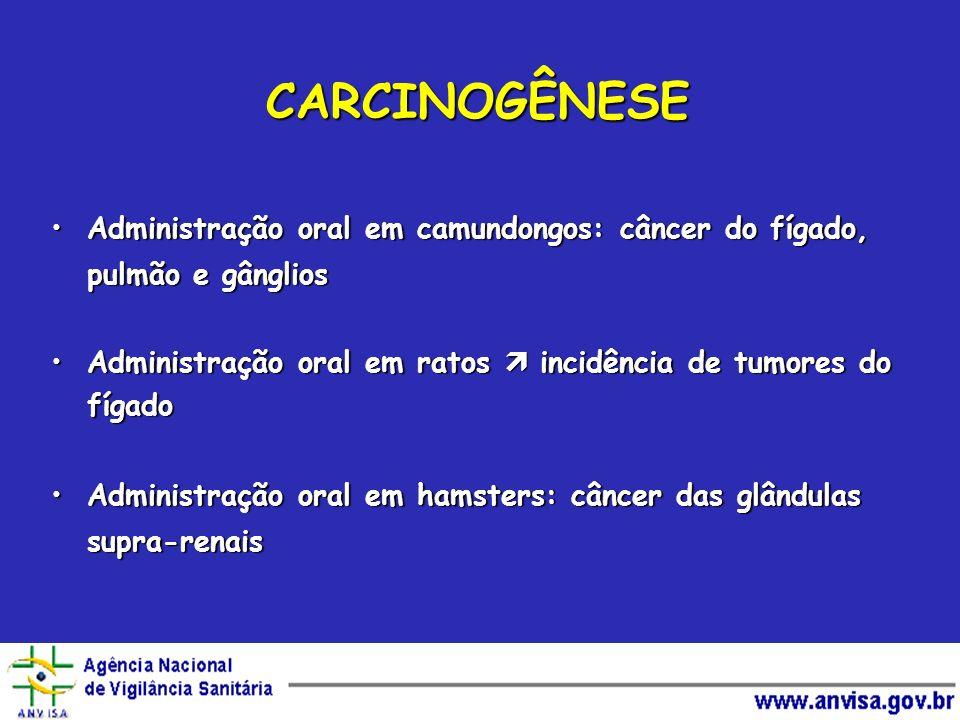 CARCINOGÊNESE Administração oral em camundongos: câncer do fígado, pulmão e gânglios. Administração oral em ratos  incidência de tumores do fígado.