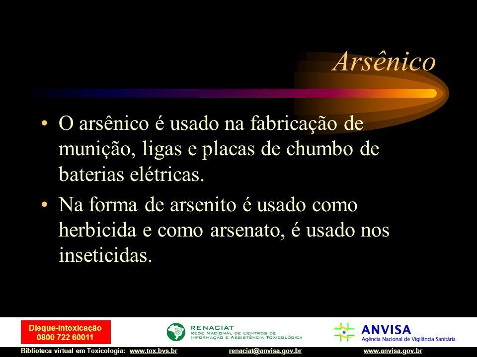 Arsênico O arsênico é usado na fabricação de munição, ligas e placas de chumbo de baterias elétricas.