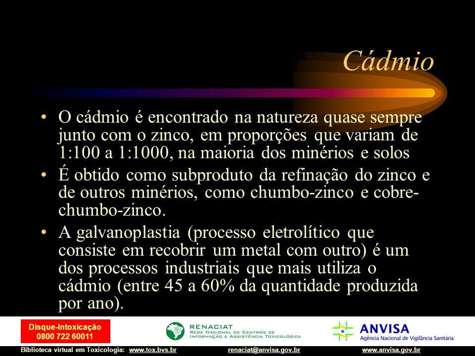 CádmioO cádmio é encontrado na natureza quase sempre junto com o zinco, em proporções que variam de 1:100 a 1:1000, na maioria dos minérios e solos.