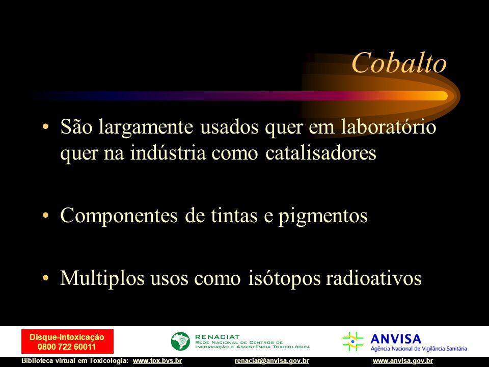 Cobalto São largamente usados quer em laboratório quer na indústria como catalisadores. Componentes de tintas e pigmentos.