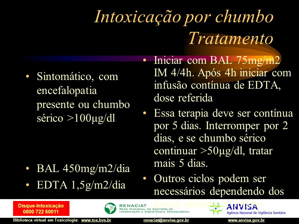 Intoxicação por chumbo Tratamento